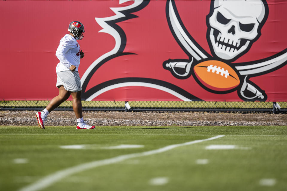 Tampa Bay Buccaneers tackle Tristan Wirfs during practice on Friday before Super Bowl LV. (Tori Richman/Tampa Bay Buccaneers via AP)