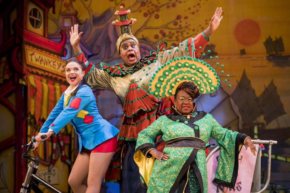 """Gemma Sutton as Aladdin, Clive Rowe as Widow Twankey and Tameka Empson as The Empress pose during a photocall for Hackney Empire's 20th Anniversary pantomime """"Aladdin"""" at Hackney Empire on November 27, 2018 in London, England. (Photo by Tristan Fewings/Getty Images)"""