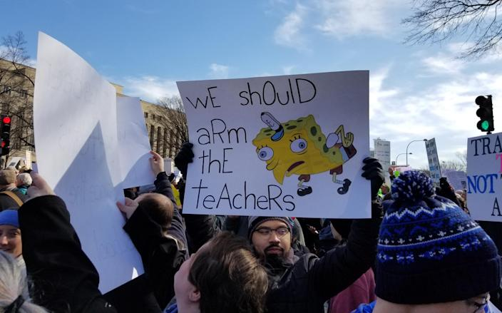 One of the many SpongeBob SquarePants memes at the March for Our Lives in Washington, D.C. (Christopher Wilson/Yahoo News)
