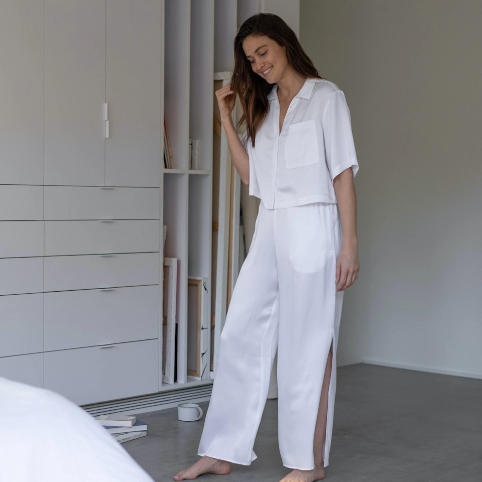 """<strong><h3>Lunya Washable Silk Button Down Pant Set</h3></strong><br>Not all PJs are created equal — and this stylish set of washable silk with thermoregulating benefits to help maintain a comfortable body temp while sleeping proves it.<br><br><em>Shop <strong><a href=""""https://www.lunya.co/collections/sets-kits/products/washable-silk-button-down-pant-set"""" rel=""""nofollow noopener"""" target=""""_blank"""" data-ylk=""""slk:Lunya"""" class=""""link rapid-noclick-resp"""">Lunya</a></strong></em><br><br><strong>Lunya</strong> Washable Silk Button Down Pant Set, $, available at <a href=""""https://go.skimresources.com/?id=30283X879131&url=https%3A%2F%2Fwww.lunya.co%2Fcollections%2Fsets-kits%2Fproducts%2Fwashable-silk-button-down-pant-set"""" rel=""""nofollow noopener"""" target=""""_blank"""" data-ylk=""""slk:Lunya"""" class=""""link rapid-noclick-resp"""">Lunya</a>"""