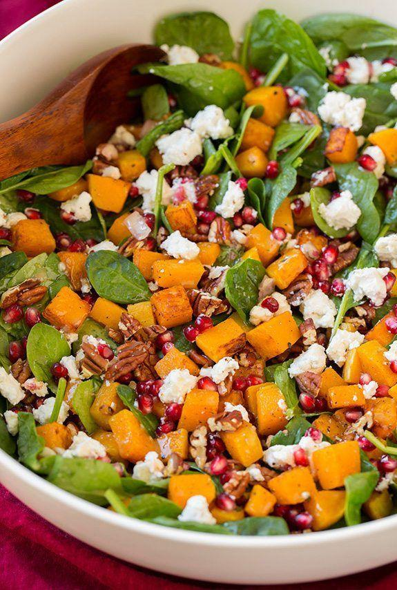 """<p>You won't even notice the spinach under there.</p><p>Get the recipe from<span class=""""redactor-invisible-space""""> <a href=""""http://www.cookingclassy.com/butternut-squash-pomegranate-and-goat-cheese-spinach-salad-with-red-wine-vinaigrette/"""" rel=""""nofollow noopener"""" target=""""_blank"""" data-ylk=""""slk:Cooking Classy"""" class=""""link rapid-noclick-resp"""">Cooking Classy</a>.</span></p>"""