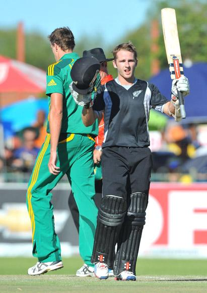 Kane Williamson of New Zealand celebrates his 100 during the 2nd One Day International match between South Africa and New Zealand at De Beers Diamond Oval on January 22, 2013 in Kimberley, South Africa.(Photo by Duif du Toit/Gallo Images/Getty Images)