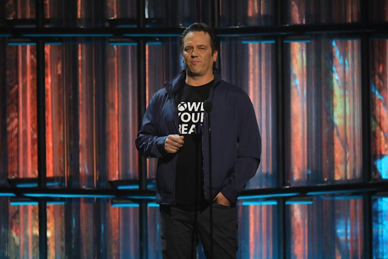 Xbox head Phil Spencer announced the new Xbox Series X on stage at The Game Awards in Los Angeles (JC Olivera/Getty Images)