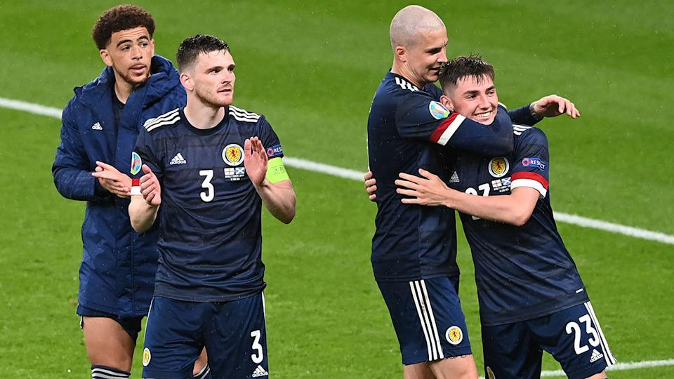 Scotland players, pictured here after their draw with England.
