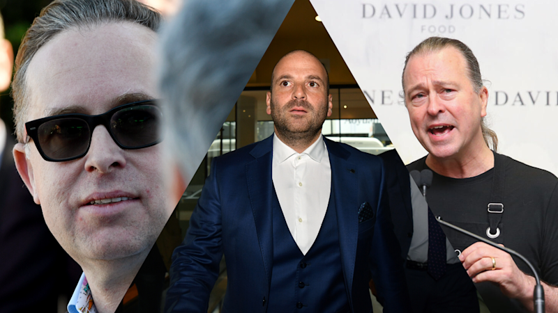 Left to right: Qantas CEO Alan Joyce, former Masterchef judge George Calombaris, celebrity chef and Rockpool chief Neil Perry. (Source: AAP, Getty)