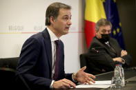 Belgium's Prime Minister Alexander De Croo speaks during a media conference after a meeting of the consultative committee of government ministers in Brussels, Wednesday, March 24, 2021. Ministers met on Wednesday to discuss a possible tightening of COVID-19 measures as infections are once again on the rise. (Benoit Doppagne, Pool via AP)