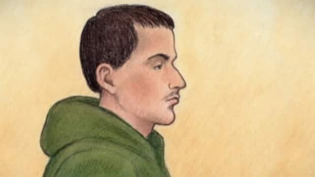 Adrian Daou, seen here in a courtroom sketch from 2015, will get a new trial in connection with the 2010 killing of Jennifer Stewart. Ontario's court of appeal has ruled that a homicide detective's opinion about Daou's confession was not admissible. (Lauren Foster-MacLeod - image credit)
