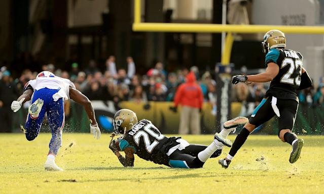 <p>Jalen Ramsey #20 of the Jacksonville Jaguars makes an interception during AFC Wild Card playoff game against the Buffalo Bills at EverBank Field on January 7, 2018 in Jacksonville, Florida. (Photo by Mike Ehrmann/Getty Images) </p>
