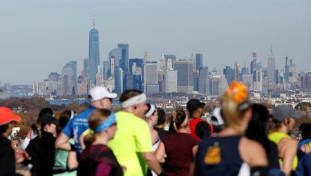 Athletics - New York City Marathon - New York City, New York, U.S. - November 4, 2018 General view of the New York skyline as competitors run past during the marathon REUTERS/Andrew Kelly