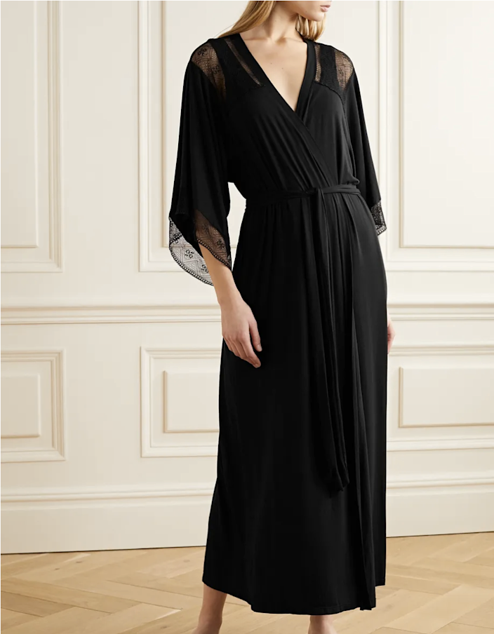 "A black robe is a black robe, but the lace detailing on Eberjey's adds a hint of sexiness. It shows just enough skin while still enveloping you in total softness. $128, Net-a-Porter. <a href=""https://www.net-a-porter.com/en-us/shop/product/eberjey/antoinette-lace-paneled-stretch-modal-robe/1223467"" rel=""nofollow noopener"" target=""_blank"" data-ylk=""slk:Get it now!"" class=""link rapid-noclick-resp"">Get it now!</a>"