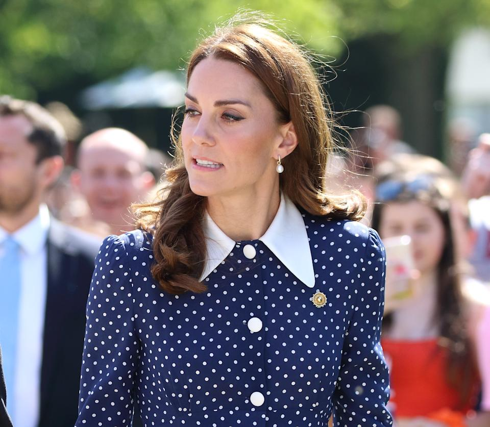 BLETCHLEY, BUCKINGHAMSHIRE, UNITED KINGDOM - 2019/05/14: Kate Middleton, Duchess of Cambridge seen arriving at the D-Day exhibition at Bletchley Park, England. (Photo by Keith Mayhew/SOPA Images/LightRocket via Getty Images)
