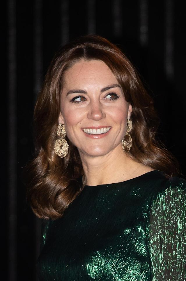 The Duchess of Cambridge wore gold earrings with her outfit. (Press Association)