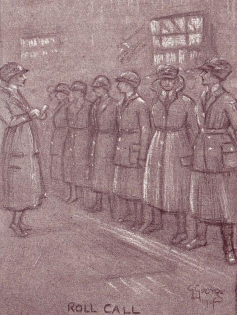 Appearing immaculately turned out for a WRAF (The Women's Royal Air Force) inspections was a struggle against the odds. There was only a small mirror to assess results. One of Gertrude George's delightful sketches of life in the WRAF. Here, the dreaded Inspection.