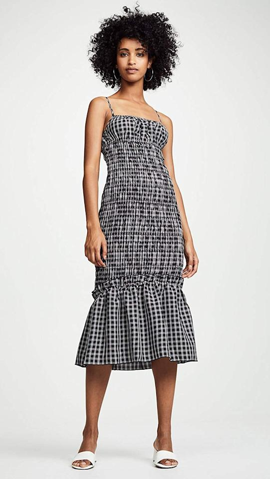 """<p>While I'm ready for everything cozy, I do love a good transitional piece. This <a rel=""""nofollow"""" href=""""https://www.popsugar.com/buy/findersKEEPERS-Merci-Checkered-Sleeveless-Shirred-Midi-Dress-365784?p_name=findersKEEPERS%20Merci%20Checkered%20Sleeveless%20Shirred%20Midi%20Dress&retailer=amazon.com&price=140&evar1=fab%3Aus&evar9=45279703&evar98=https%3A%2F%2Fwww.popsugar.com%2Ffashion%2Fphoto-gallery%2F45279703%2Fimage%2F45279843%2FfindersKEEPERS-Merci-Checkered-Sleeveless-Shirred-Midi-Dress&list1=shopping%2Cfall%20fashion%2Cfall%2Ceditors%20picks%2Ceditors%20picks&prop13=mobile&pdata=1"""" rel=""""nofollow"""">findersKEEPERS Merci Checkered Sleeveless Shirred Midi Dress</a> ($140) is something I can wear for seasons to come. In Fall or Winter it can pair perfectly with a long-sleeve turtleneck and leather boots.</p>"""