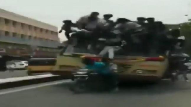 Chennai students climb, fall off moving bus while celebrating Bus Day | Watch