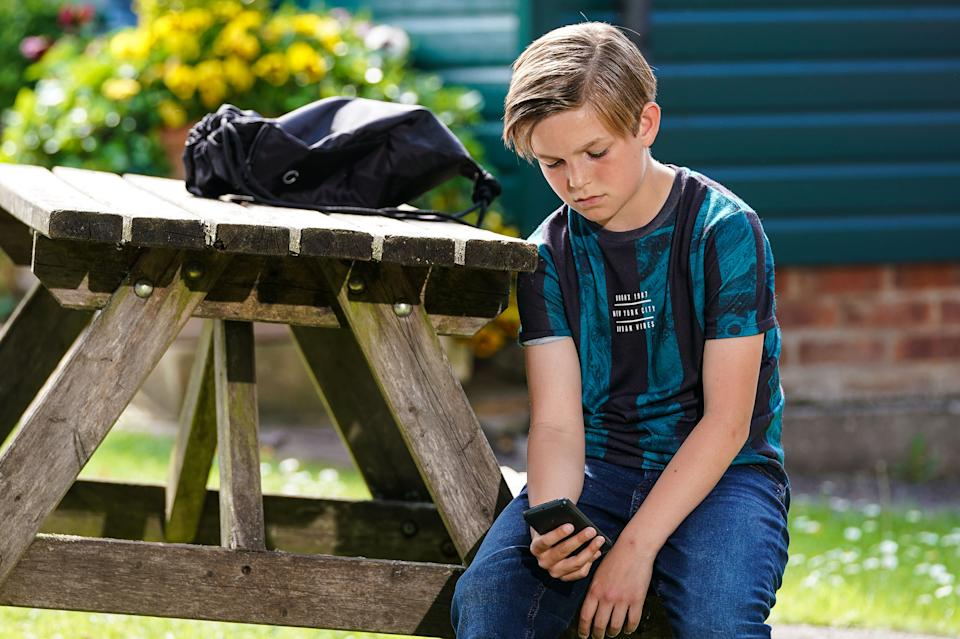 WARNING: Embargoed for publication until 00:00:01 on 17/08/2021 - Programme Name: EastEnders - July-September 2021 - TX: 27/08/2021 - Episode: EastEnders - July-September 2021 - 6332 (No. 6332) - Picture Shows: ***EMBARGOED TILL TUESDAY 17TH AUGUST 2021*** Tommy Moon (SONNY KENDALL) - (C) BBC - Photographer: Kieron McCarron/Jack Barnes