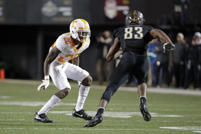 Tennessee defensive back Bryce Thompson (20) defends against Vanderbilt wide receiver C.J. Bolar (83) in the second half of an NCAA college football game Saturday, Nov. 24, 2018, in Nashville, Tenn. Vanderbilt won 38-13. (AP Photo/Mark Humphrey)