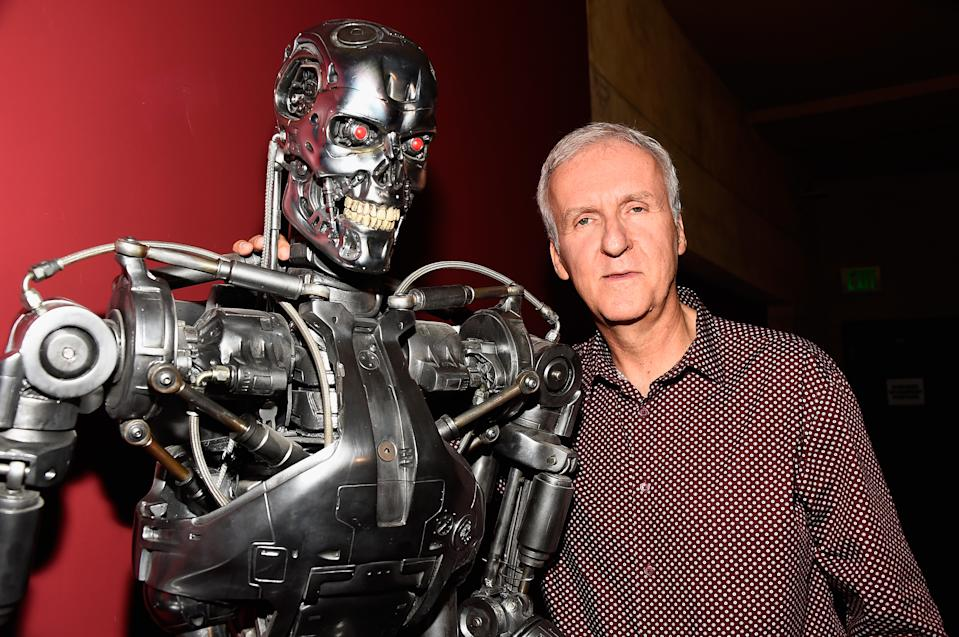 "HOLLYWOOD, CA - OCTOBER 15:  Director James Cameron attends the American Cinematheque 30th Anniversary Screening Of ""The Terminator"" Q+A at the Egyptian Theatre on October 15, 2014 in Hollywood, California.  (Photo by Frazer Harrison/Getty Images)"