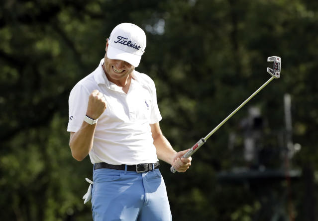 Justin Thomas celebrates after sinking a birdie on the 18th green during the final round at the BMW Championship golf tournament at Medinah Country Club, Sunday, Aug. 18, 2019, in Medinah, Ill. He finished under 25. (AP Photo/Nam Y. Huh)