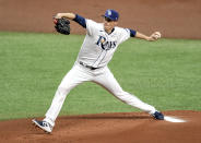 Tampa Bay Rays starter Ryan Yarbrough pitches during the first inning of a baseball game against the Boston Red Sox Wednesday, Aug. 5, 2020, in St. Petersburg, Fla. (AP Photo/Steve Nesius)