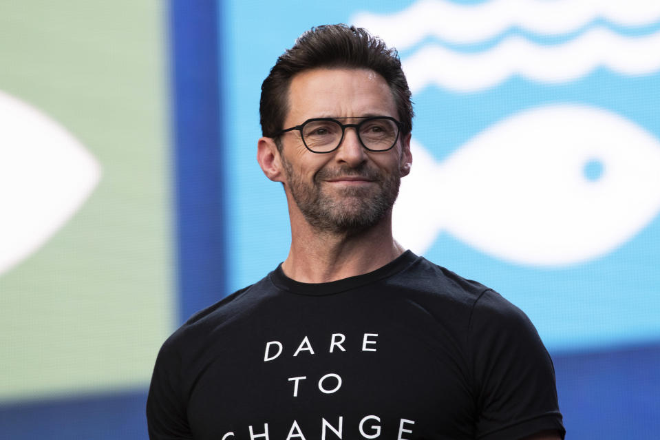 Hugh Jackman speaks at the 2019 Global Citizen Festival in Central Park on Saturday, Sept. 28, 2019, in New York. (Photo by Charles Sykes/Invision/AP)