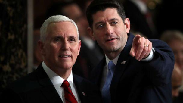 PHOTO: Vice President Mike Pence and Speaker of the House Rep. Paul Ryan attend the State of the Union address in the chamber of the U.S. House of Representatives Jan. 30, 2018 in Washington. (Mark Wilson/Getty Images)