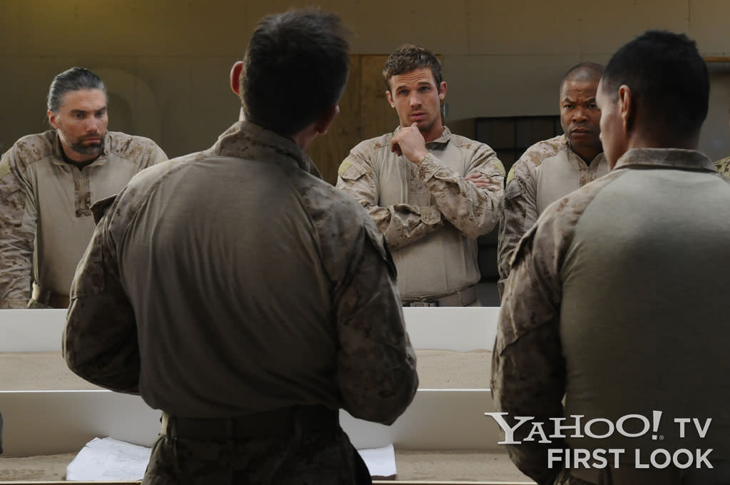 "Cherry (Anson Mount), Stunner (Cam Gigandet) and Mule (Alvin 'Xzibit' Joiner) being debriefed on the compound containing their target in ""Seal Team Six: The Raid on Osama Bin Laden."""