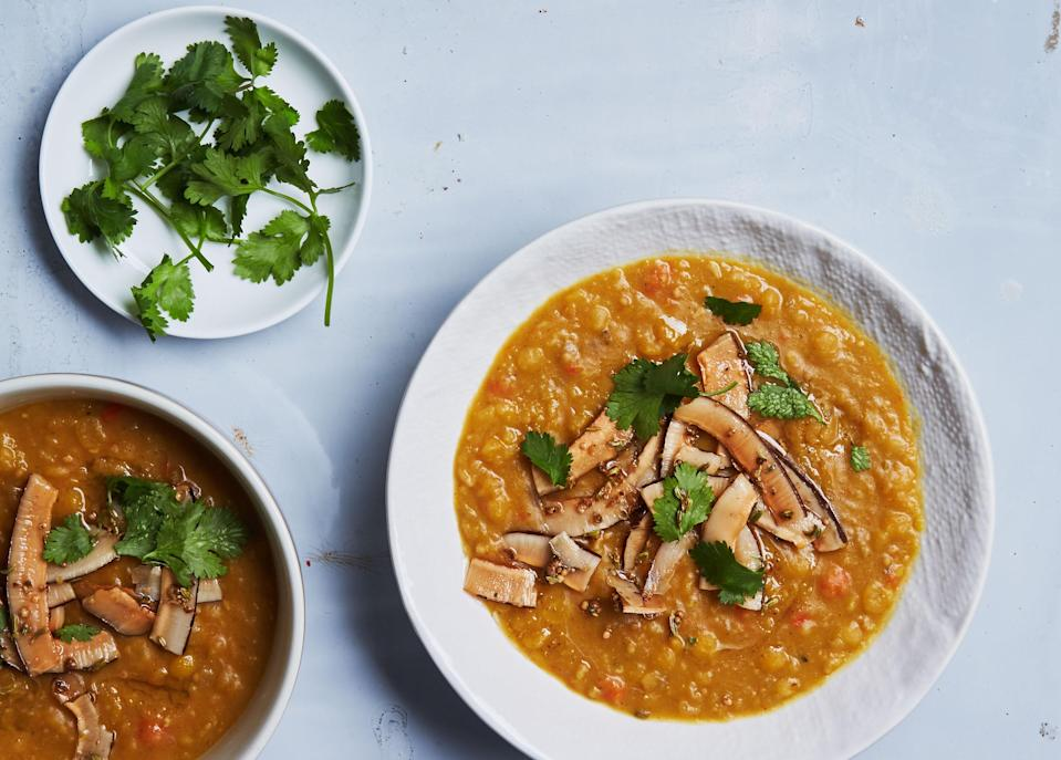 "If you have extra time, double the amount of vegetables for this split pea soup recipe, then scoop out half of the soffritto and freeze it for a shortcut another night. <a href=""https://www.bonappetit.com/recipe/curried-yellow-split-pea-soup-with-spiced-coconut?mbid=synd_yahoo_rss"" rel=""nofollow noopener"" target=""_blank"" data-ylk=""slk:See recipe."" class=""link rapid-noclick-resp"">See recipe.</a>"