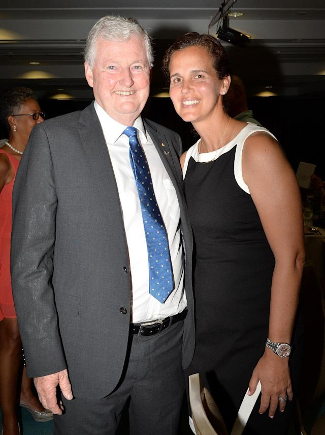 BRISBANE, AUSTRALIA - APRIL 14: Vice President of the International Tennis Federation Geoff Pollard and USA Fed Cup Captain Mary Joe Fernandez pose for a photo during the Fed Cup Official Dinner on April 14, 2016 in Brisbane, Australia. (Photo by Bradley Kanaris/Getty Images)