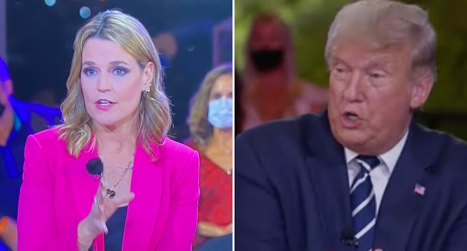 Pictured are Donald Trump and NBC journalist Savannah Guthrie during a tense town hall in Miami.