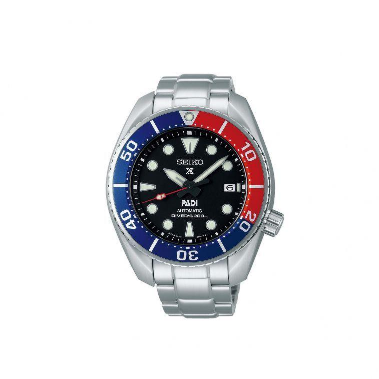 """<p>Prospex x PADI SPB181J1</p><p><a class=""""link rapid-noclick-resp"""" href=""""https://www.seikoboutique.co.uk/prospex-padi-special-edition-sumo-spb181j1.html"""" rel=""""nofollow noopener"""" target=""""_blank"""" data-ylk=""""slk:SHOP"""">SHOP</a></p><p>Proper divers don't really wear <a href=""""https://www.esquire.com/uk/watches/g32127494/best-dive-watches/"""" rel=""""nofollow noopener"""" target=""""_blank"""" data-ylk=""""slk:diving watches"""" class=""""link rapid-noclick-resp"""">diving watches</a> these days. Or rather, the diving watches they do wear tend to be wrist-mounted computers, with digital displays and sensors for everything from oxygen levels to pressure readings. But divers do wear watches from Seiko's Prospex line, which is why it's the only marque allowed to bear the logo of the Professional Association of Diving Instructors (PADI). The latest addition to their ongoing collaboration is a take on Seiko's 'Sumo', (so named for its bulbous profile and the oversized 12 o'clock marker) with super-legible Lumibrite hands and markers, plus that signature 4 o'clock screwdown crown and Pepsi bezel.</p><p>£750, <a href=""""https://www.seikoboutique.co.uk/prospex-padi-special-edition-sumo-spb181j1.html"""" rel=""""nofollow noopener"""" target=""""_blank"""" data-ylk=""""slk:seikoboutique.co.uk"""" class=""""link rapid-noclick-resp"""">seikoboutique.co.uk</a></p>"""
