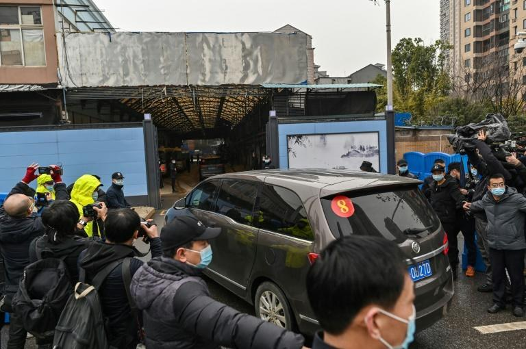 Members of a WHO team investigating the origins of Covid-19 arrived at the closed Huanan Seafood wholesale market in Wuhan on Sunday