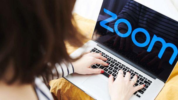 PHOTO: The logo for the Zoom Video Communications Inc. application is displayed on an Apple Inc. laptop computer in an arranged photograph taken in the Brooklyn, N.Y., April 10, 2020. (Gabby Jones/Bloomberg via Getty Images)