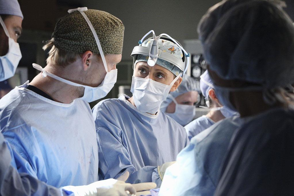 "Kevin McKidd as Owen Hunt and Kim Raver as Teddy Altman in the ""<a href=""/grey-39-s-anatomy/show/36657"">Grey's Anatomy</a>"" musical episode, ""Song Beneath the Song."""