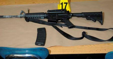 A Bushmaster rifle belonging to Sandy Hook Elementary school gunman Adam Lanza in Newtown, Connecticut is seen after its recovery at the school in this police evidence photo released by the state's attorney's office on November 25, 2013.   REUTERS/Connecticut Department of Justice/Handout via REUTERS