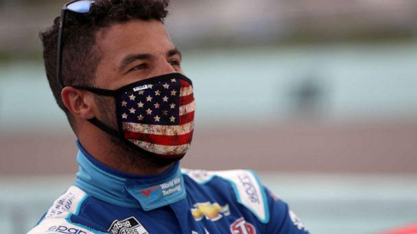 PHOTO: Bubba Wallace, driver of the #43 World Wide Technology Chevrolet, stands on the grid prior to the NASCAR Cup Series Dixie Vodka 400 at Homestead-Miami Speedway on June 14, 2020 in Homestead, Florida. (Photo by Chris Graythen/Getty Images) (Chris Graythen/Getty Images)