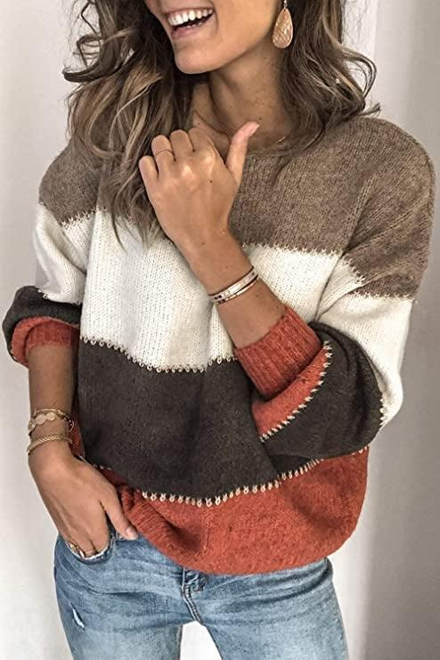 <p>This color-block <span>Necooer Oversized Chunky Knit Pullover</span> ($29) makes a bold statement.</p>