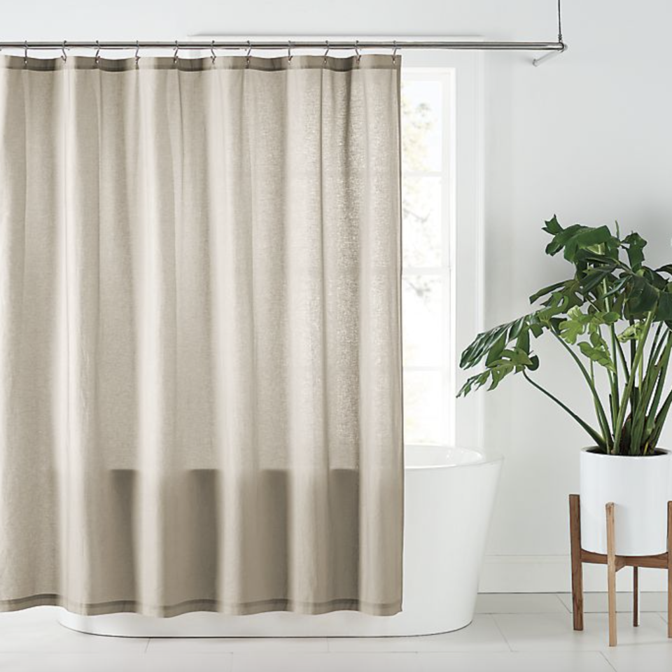 Nestwell Solid Hemp Shower Curtain with plant in pot
