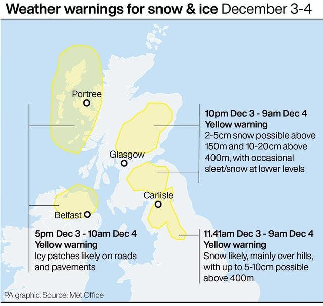 Weather warnings for snow & ice December 3-4