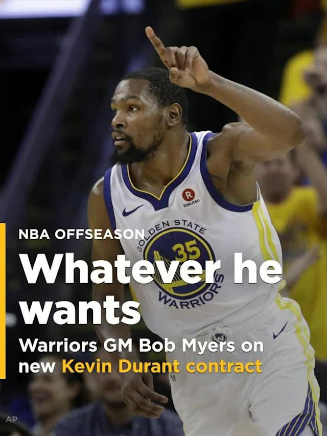 Kevin Durant shouldn't expect any pushback on a max deal from the Golden State Warriors during contract negotiations this summer.