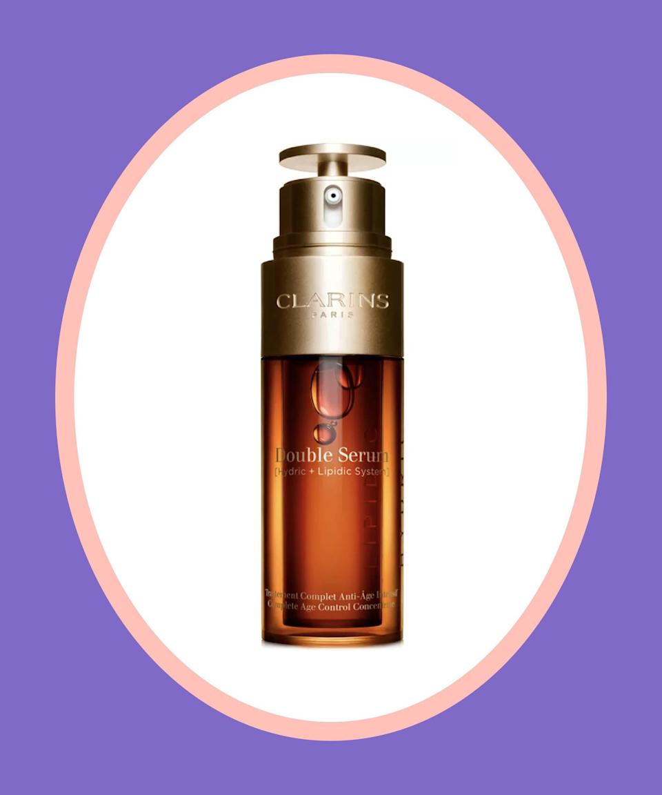 """<br><br><strong>Clarins</strong> Double Serum Complete Age Control Concentrate, $, available at <a href=""""https://go.skimresources.com/?id=30283X879131&url=https%3A%2F%2Fwww.macys.com%2Fshop%2Fproduct%2Fclarins-double-serum-complete-age-control-concentrate-collection%3FID%3D4982392%26CategoryID%3D30078"""" rel=""""nofollow noopener"""" target=""""_blank"""" data-ylk=""""slk:Macy's"""" class=""""link rapid-noclick-resp"""">Macy's</a>"""