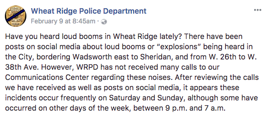 The Wheat Ridge Police Department posted about a mystery sound on their Facebook page. Source: Facebook/Wheat Ridge Police Department