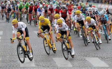 Cycling - The 104th Tour de France cycling race - The 103-km Stage 21 from Montgeron to Paris Champs-Elysees, France - July 23, 2017 - Team Sky rider and yellow jersey Chris Froome of Britain in action. REUTERS/Charles Platiau