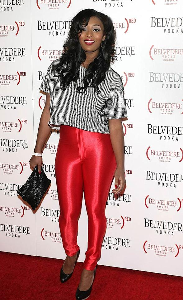"Former ""Top Model"" contestant Toccara Jones arrived looking like she stepped out of the '80s in red spandex leggings. Do you like her retro style? Robert Benson/<a href=""http://www.gettyimages.com/"" target=""new"">GettyImages.com</a> - February 10, 2011"