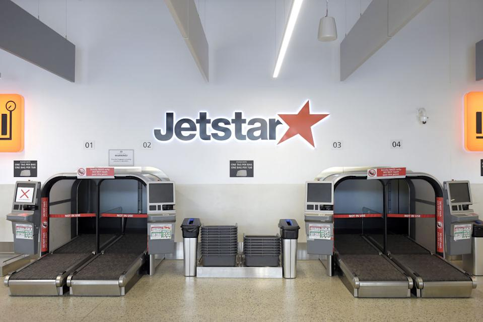 A bag drop area for Jetstar Airways at Melbourne Airport.
