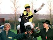 Clare Balding - who is shortly to take over BBC Racing commentating from Julian Wilson - celebrates after wining the KJ Pike & Sons Celebrity Charity Flat Race at Wincanton today (Thursday) on 'Pay Homage', who is owned and trained by her father Ian Balding. Photo by Barry Batchelor/PA (Photo by Barry Batchelor - PA Images/PA Images via Getty Images)