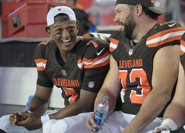 Joe Thomas, right, enjoys working with younger players like Cleveland Browns rookie quarterback DeShone Kizer. (AP)