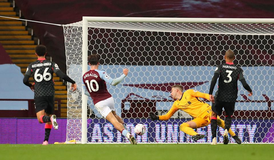 Jack Grealish scores Villa's seventh goal against Liverpool in October (Reuters)