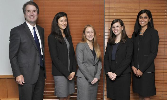 """<span class=""""element-image__caption"""">Kavanaugh with his law clerks in 2014–15, in Washington, the first all-women law clerk class in the history of the DC circuit.</span> <span class=""""element-image__credit"""">Photograph: Department of Justice/AP</span>"""
