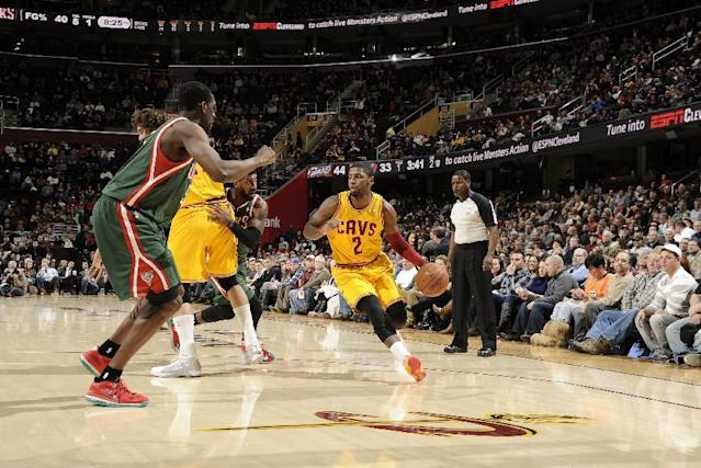 CLEVELAND, OH - JANUARY 24: Kyrie Irving #2 of the Cleveland Cavaliers drives to the hoop against the Milwaukee Bucks at The Quicken Loans Arena on January 24, 2014 in Cleveland, Ohio. (Photo by David Liam Kyle/NBAE via Getty Images)